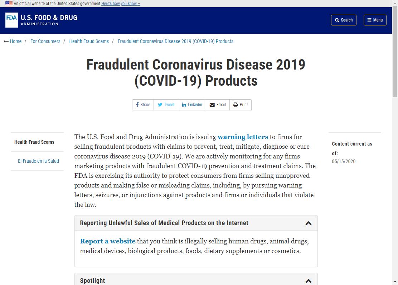 FDAは新型コロナウイルスに関する不正な製品のリストを公開しています。
