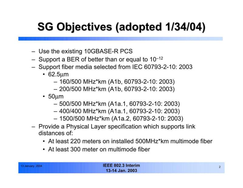 """ここにあるように「既に500MHz・kmの光ファイバーが敷設されており、これを利用して何とか10Gbpsを通したい」というのが最大の動機と思える。出典は""""<a href=""""http://www.ieee802.org/3/aq/802_3_aq_objectives.pdf"""" class=""""strong bn"""" target=""""_blank"""">10Gb/s on FDDI-grade MMF Cable Objectives</a>"""""""