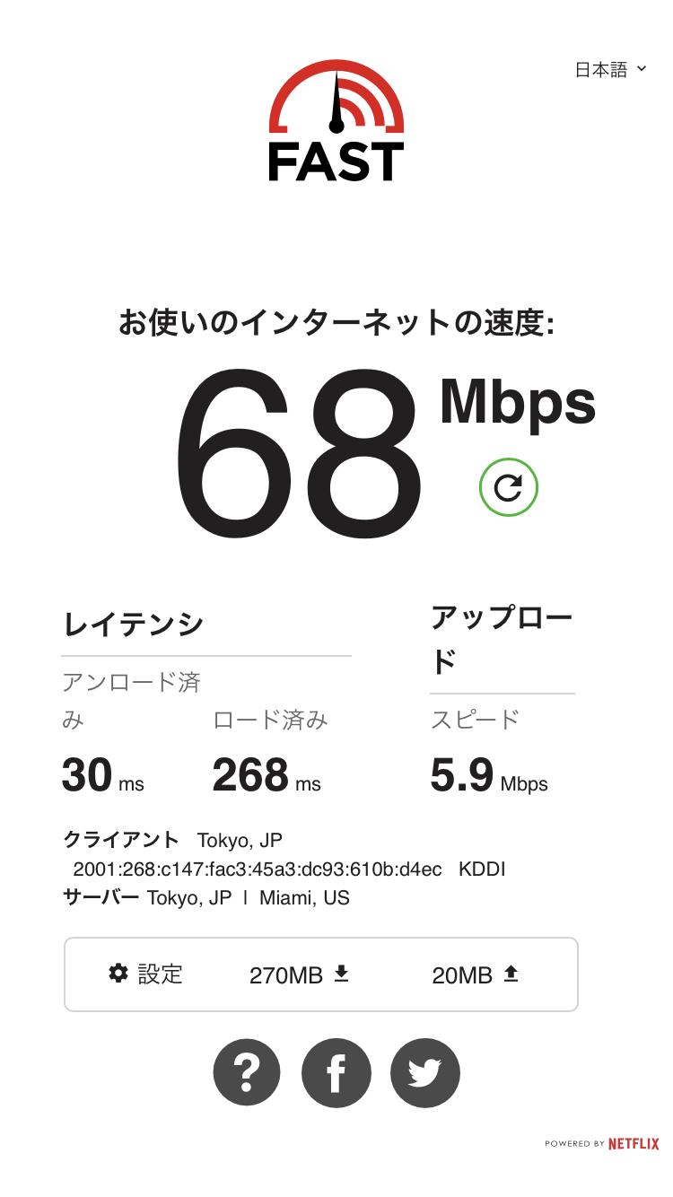 WiMAX 2+回線を用いた日中のスピードテスト参考値。アップロードは遅いが、家庭での一般的な利用には問題ない速度が出ている