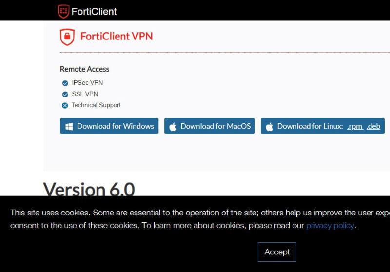 「FortiClient VPN」はフォーティネットの公式サイトからダウンロード