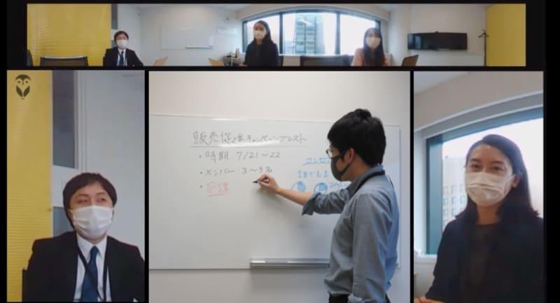会議室の全体を撮影しつつ、発言者は大きく映し出される<br>© 2020 Owl Labs