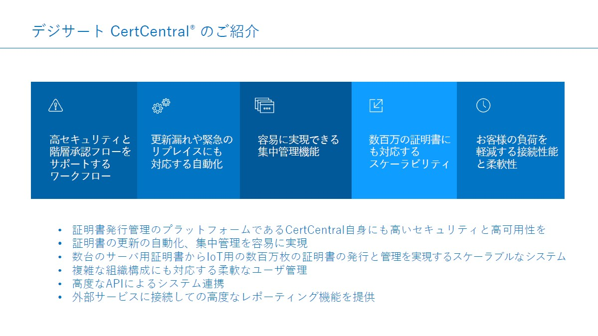 CertCentralを利用することで集中的な自動管理を可能とし、高いスケーリングも得られる