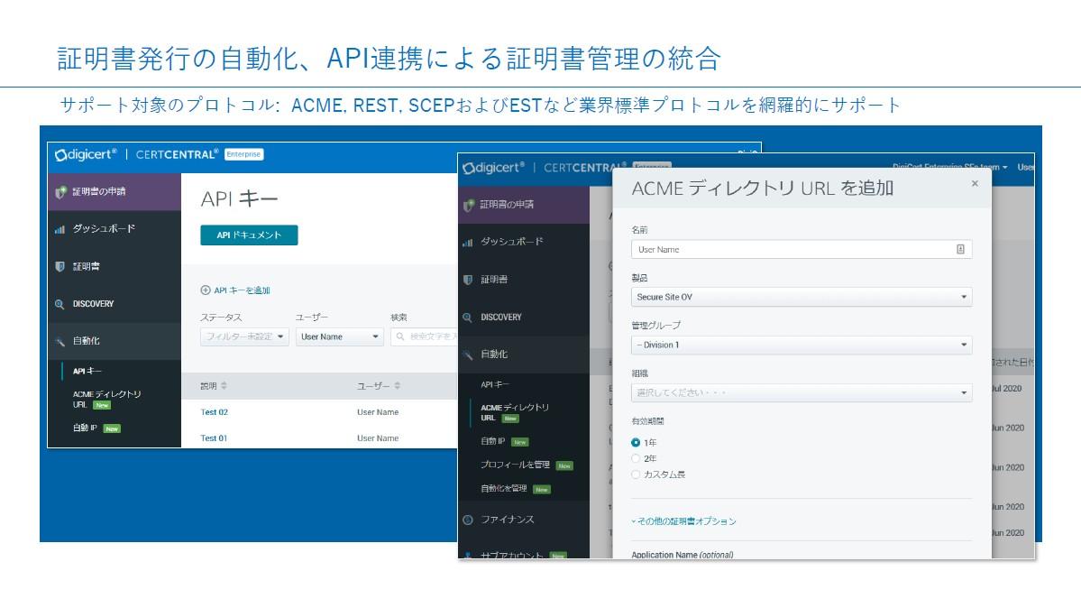 証明書発行自動化と業界標準APIによる証明書管理が可能