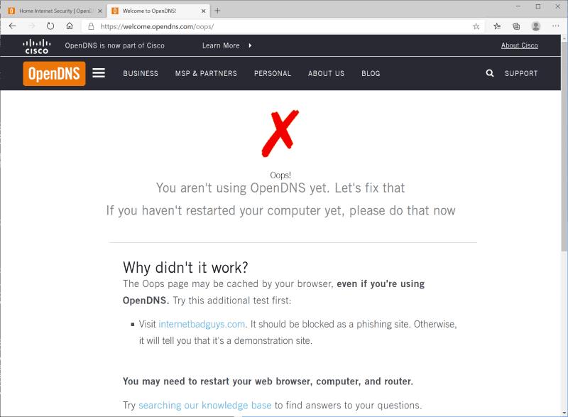 設定しても「You aren't using OpenDNS yet.」と表示されてしまう