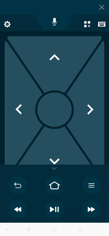これがリモコンアプリの画面。付属リモコンと併用して使える