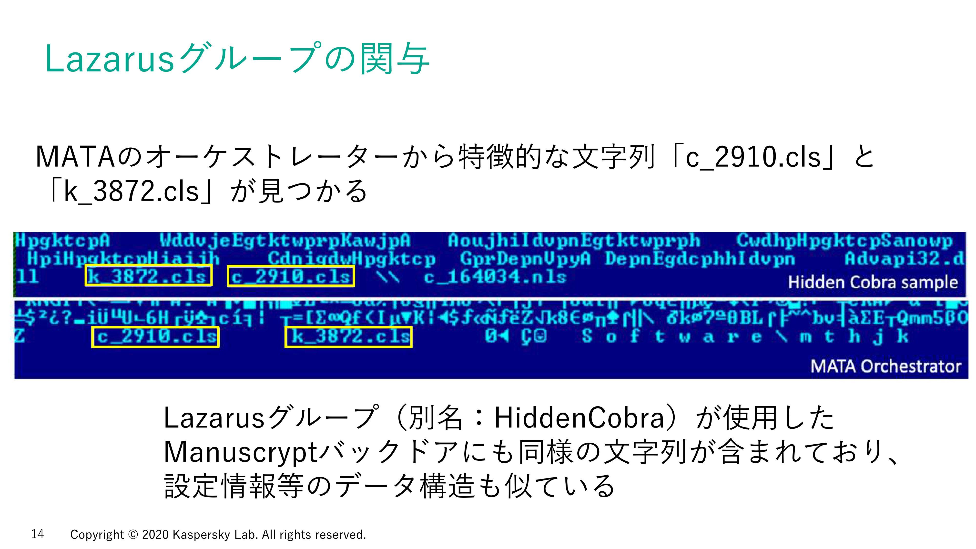 オーケストレーターから特徴的な文字列「c_2910.cls」「k_3872.cls」が見つかった