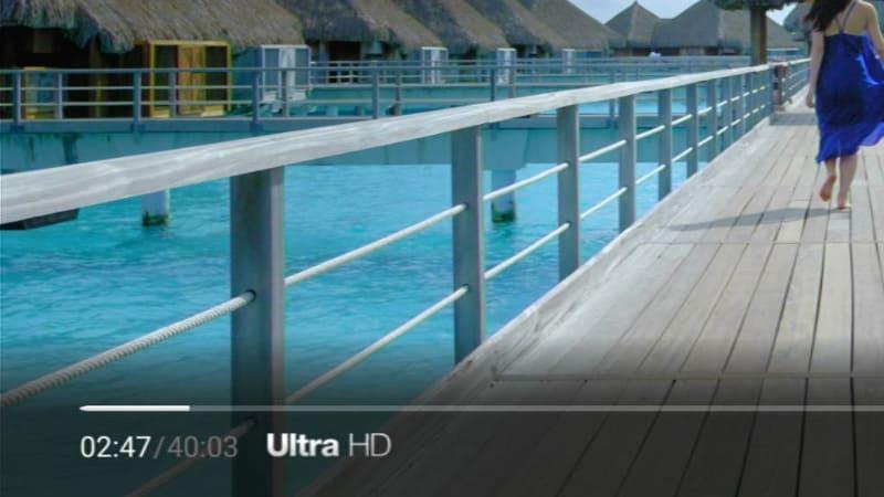 しばらく再生していると、表示は「Ultra HD」に切り替わる。これで4Kで表示されている