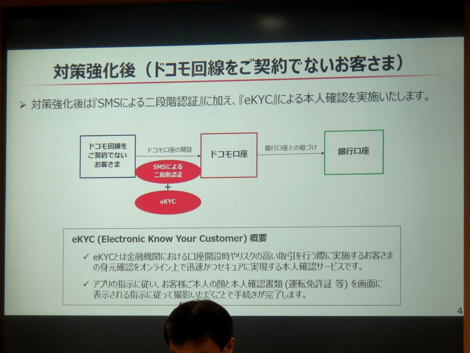 非ドコモ回線契約者のドコモ口座作成に対しては、SMS認証とeKYCによる本人確認を実施する。ただし、金融機関が保持する本人確認情報との突合は行われないという