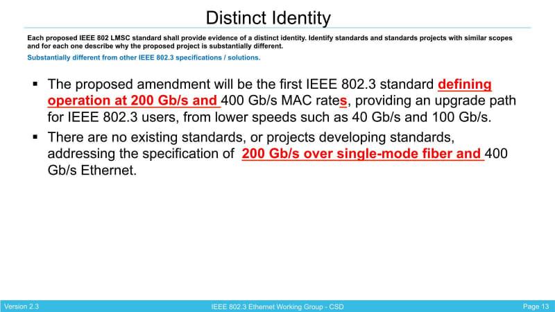 """要するに""""400Gb/sec""""の前に""""200Gb/sec and""""を付け加えた格好だ。出典は""""<a href=""""https://www.ieee802.org/3/bs/public/16_01/nowell_3bs_01_0116.pdf"""" class=""""strong bn"""" target=""""_blank"""">PROPOSED MODIFICATIONS:802.3bs PROJECT DOCUMENTATION IEEE 802.3 Next Gen 100 GbE / 200GbE Study Group</a>"""""""