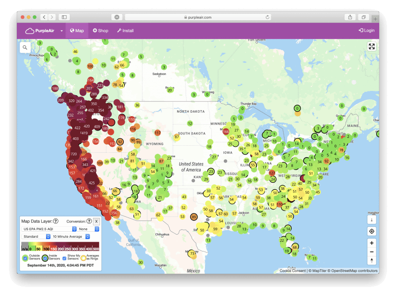 「purpleair.com」より。現在、カリフォルニアは全米はもちろん全世界でも1、2を争う大気汚染の酷さ
