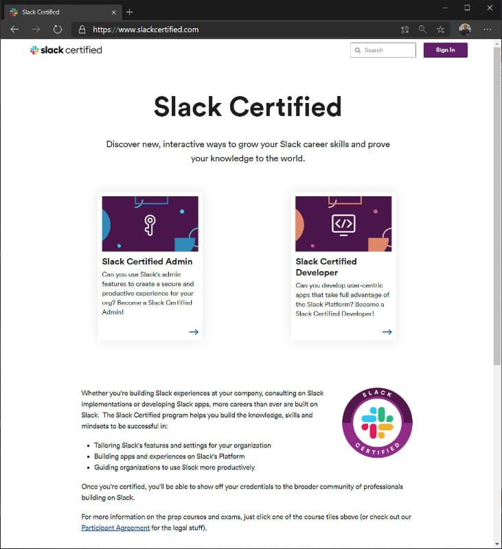 「Slack Certified」のウェブサイト