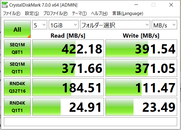 5GbE環境のみ、WindowsのCrystalsDiskMarkで計測を行っている
