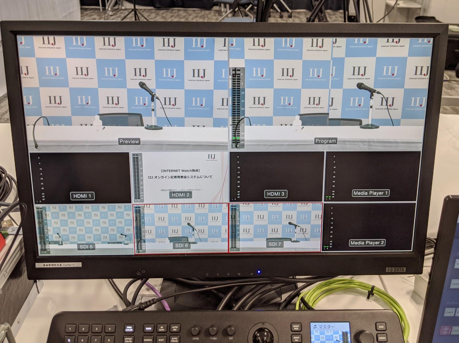 映像スイッチャーの画面。右上は2台のカメラをワイプ表示しており、位置や色味の調整に使用している。下では8つの入力画面を表示している