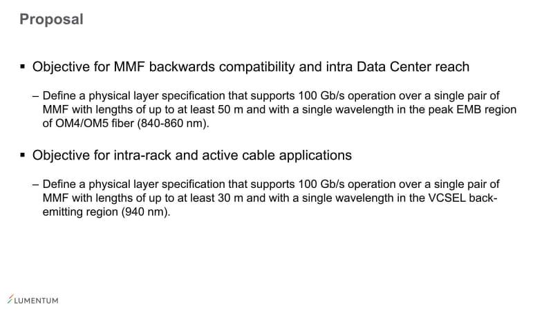 """まだ、変調方式をどうする? とかいう以前の議論ではある。出典は""""<a href=""""https://www.ieee802.org/3/100GSR/public/Jan20/lewis_100GSR_01_0120.pdf"""" class=""""strong bn"""" target=""""_blank"""">Proposed objectives for 100 Gb/s short-reach PMDs</a>"""""""