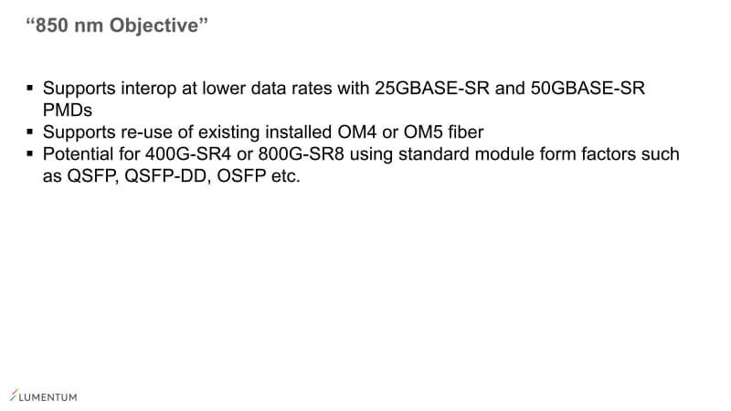 "「400G-SR4」はともかく「800G-SR8」はどうか?という気もする。「<a href=""https://internet.watch.impress.co.jp/docs/column/nettech/1279558.html"" class=""strong bn"" target=""_blank"">400GBASE-SR16</a>」という前例が既にあるので、8対を束ねるくらいは大きな問題ではないと考えたのかもしれない"
