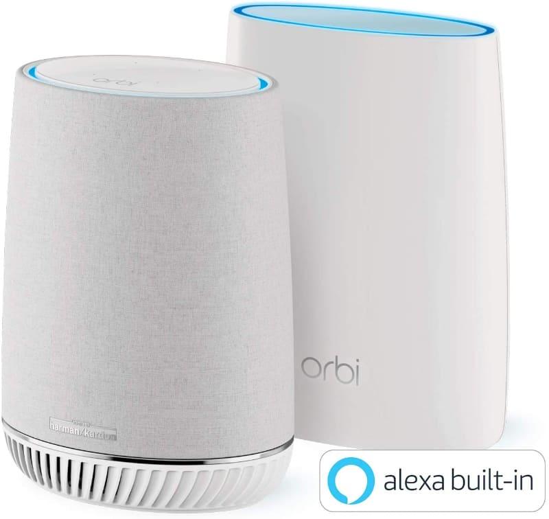スマートスピーカーにもなるトライバンドのメッシュWi-Fiシステム「Orbi Voiceスターターキット(2台セット)」
