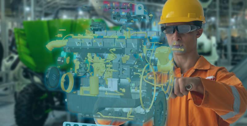 スマートグラスの活用方法のイメージ。スマートグラスに、エンジンが分解された様子が表示される