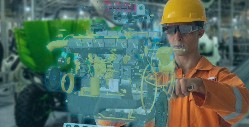 スマートグラスの活用方法のイメージ。スマートグラスにエンジンが分解された様子が表示される