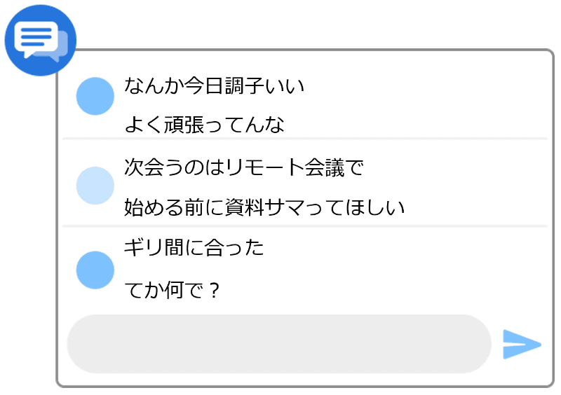 チャットの対話形式での「話し言葉」変換例のイメージ