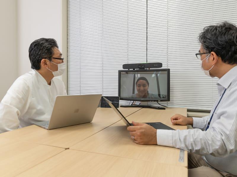 実際にPoly Studio X30を使ってオンライン会議を行ってみた。お互いの声がしっかり伝わるので、議論も進めやすい