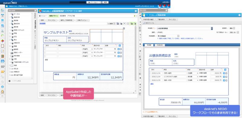 「desknet's NEO」のワークフローにて「AppSuite」のアプリが使えるようになった