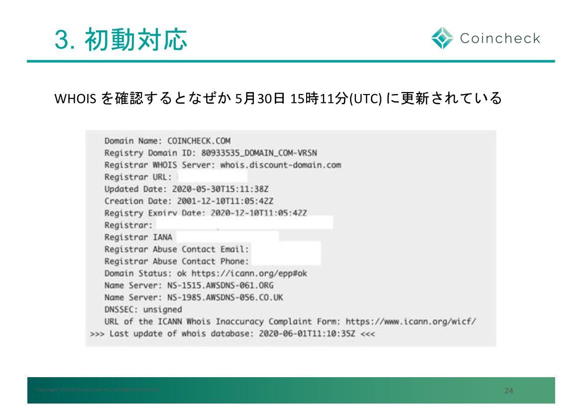 更新されたのは日本時間で日曜深夜。しかしCoincheckでは最近変更していない