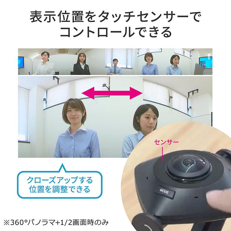 「360°パノラマ+1画面」と「360°パノラマ+2画面」の下段の1画面または2画面の方向は、センサーをタッチして設定する