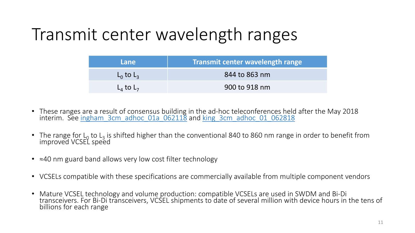 "L0~L3を一般的な840~860nmより若干長波長とすることで、VCSELを利用した場合の効率を上げているとするが、要するに合わせただけで、元々の400G-BD4.2が844~863nmを選んだ際の趣旨、という気もする。出典は""<a href=""https://www.ieee802.org/3/cm/public/July18/ingham_3cm_01b_0718.pdf"" class=""strong bn"" target=""_blank"">Baseline proposal for a 400 Gb/s optical PMD supporting four MMF pairs</a>"""