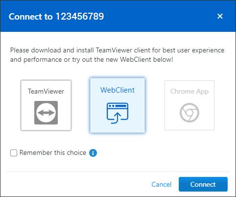 遠隔操作の方法を「TeamViewer」「WebClinent」「Chrome App」から選べる。「WebClinent」をクリックするとウェブブラウザーで遠隔操作ができる