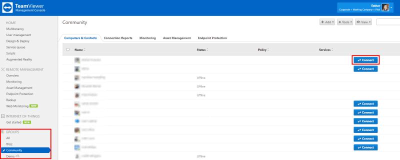 端末を管理する「TeamViewer管理コンソール」。遠隔操作したい端末の「Connect」ボタンをクリックすると……