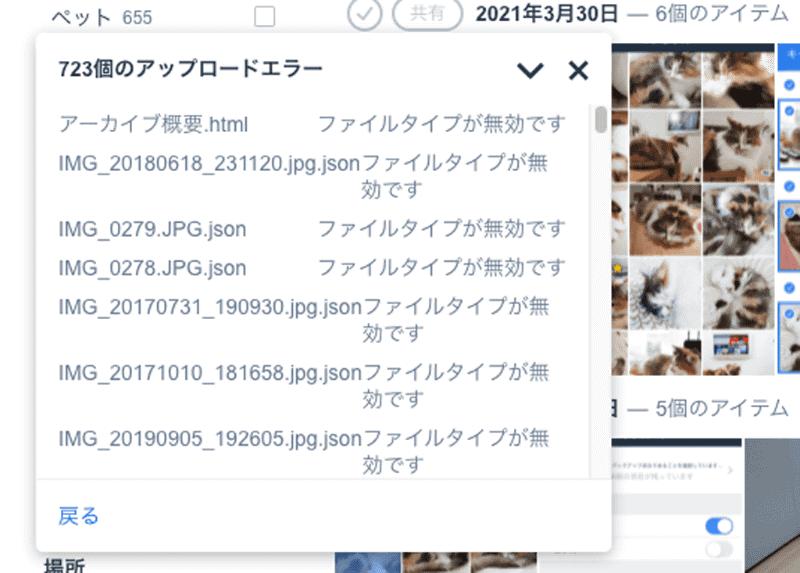 アップロードエラーの内容を確認。写真と動画以外のデータがエラーとなっている