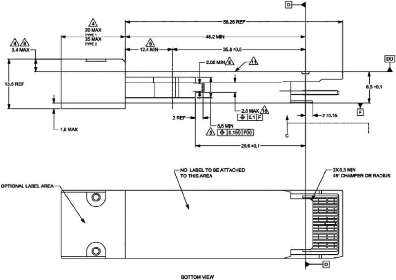 """注釈には、Power class 1のcopper cableを利用する場合以外はQSFP-DDと同じ(copper cableを使う場合、底面の間隔が0.15mmまで許容される)とある。出典は<a href=""""http://www.qsfp-dd800.com/wp-content/uploads/2020/03/QSFP-DD-800-Hardware-1p0-3-6-20%20FINAL.pdf"""" class=""""strong bn"""" target=""""_blank"""">QSFP-DD800 Specification Rev 1.0</a>のFigure 3-1"""