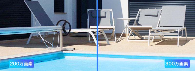 300万画素(右)と200万画素(左)の撮影例