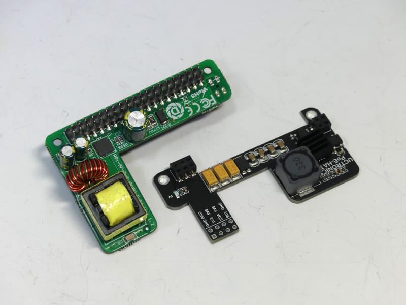 """左が「<a href=""""https://www.amazon.co.jp/gp/product/B07JPXR9ZN"""" class=""""strong bn"""" target=""""_blank"""">DSLRKIT Power Over Ethernet PoE HAT for Raspberry Pi 4B</a>」、右が「<a href=""""https://www.amazon.co.jp/gp/product/B082ZLDMZ6"""" class=""""strong bn"""" target=""""_blank"""">UCTRONICS Raspberry Pi4用PoEHAT ミニパワーオーバーイーサネット拡張ボード</a>」"""