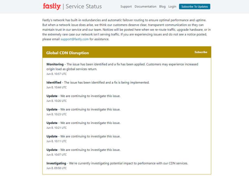 Fastlyのサービスステータス画面