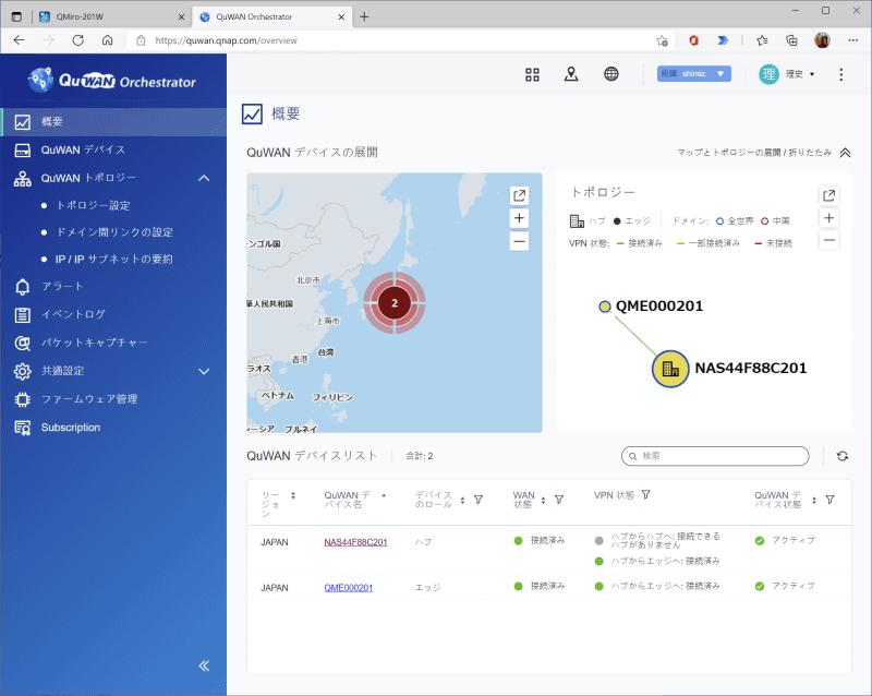 「QuWAN Orchestrator」による管理画面。拠点間の接続状況をクラウド上で把握できる