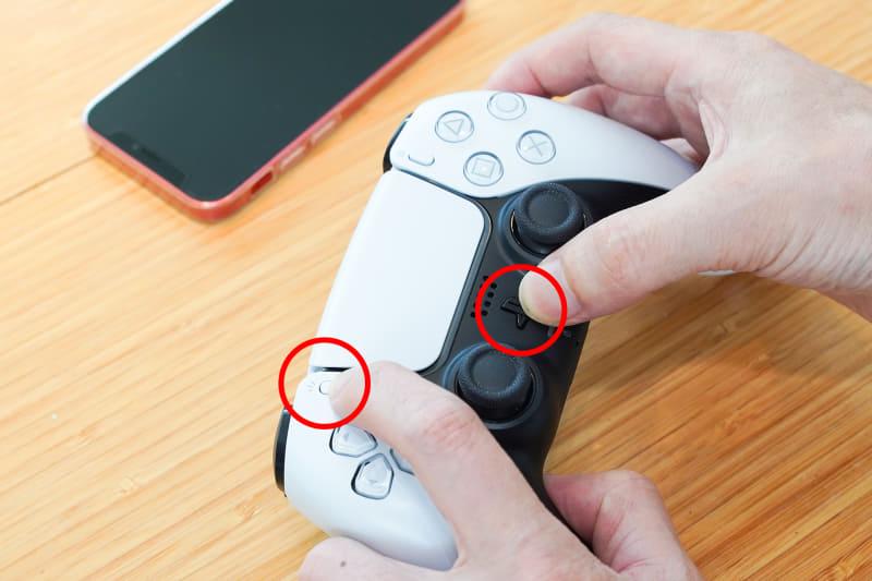 スマホと同様、DualSenseワイヤレスコントローラーで「PS]ボタンと左上のクリエイトボタンを同時に長押し