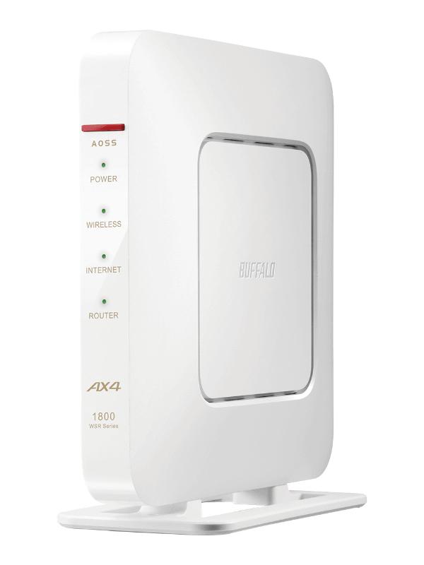 """自宅用に新調したバッファローのWi-Fi 6対応ルーター「WSR-1800AX4」。筆者が購入したブラックモデル(WSR-1800AX4-BK)のほか、写真のホワイトモデル(WSR-1800AX4-WH)もラインアップしている(スペックなどの詳細は、<a href=""""/docs/news/1256986.html"""" class=""""strong b"""">本誌2020年6月4日付記事</a>を参照)"""