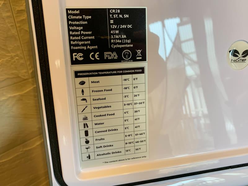 フタの裏には食品ごとの一般的な保存温度が記される