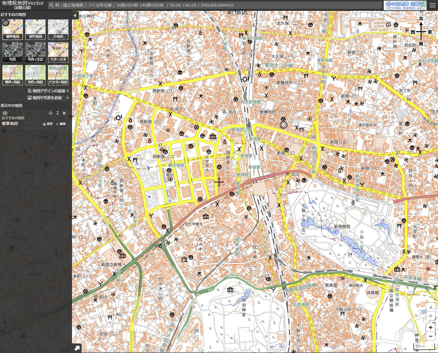 標準地図夏休みの自由研究におすすめな国土地理院「地理院地図Vector」の標準地図画面