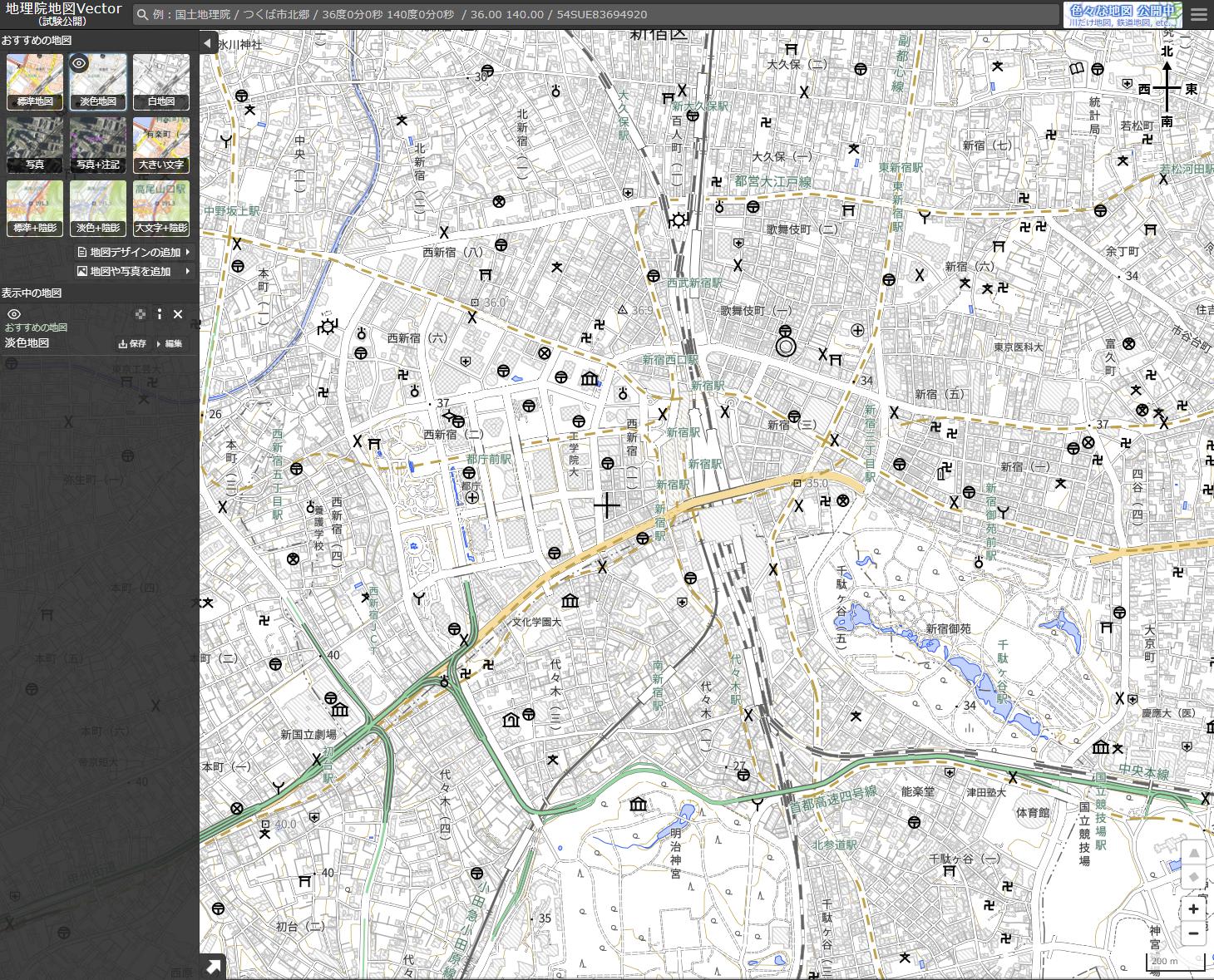淡色地図夏休みの自由研究におすすめな国土地理院「地理院地図Vector」の淡色地図画面