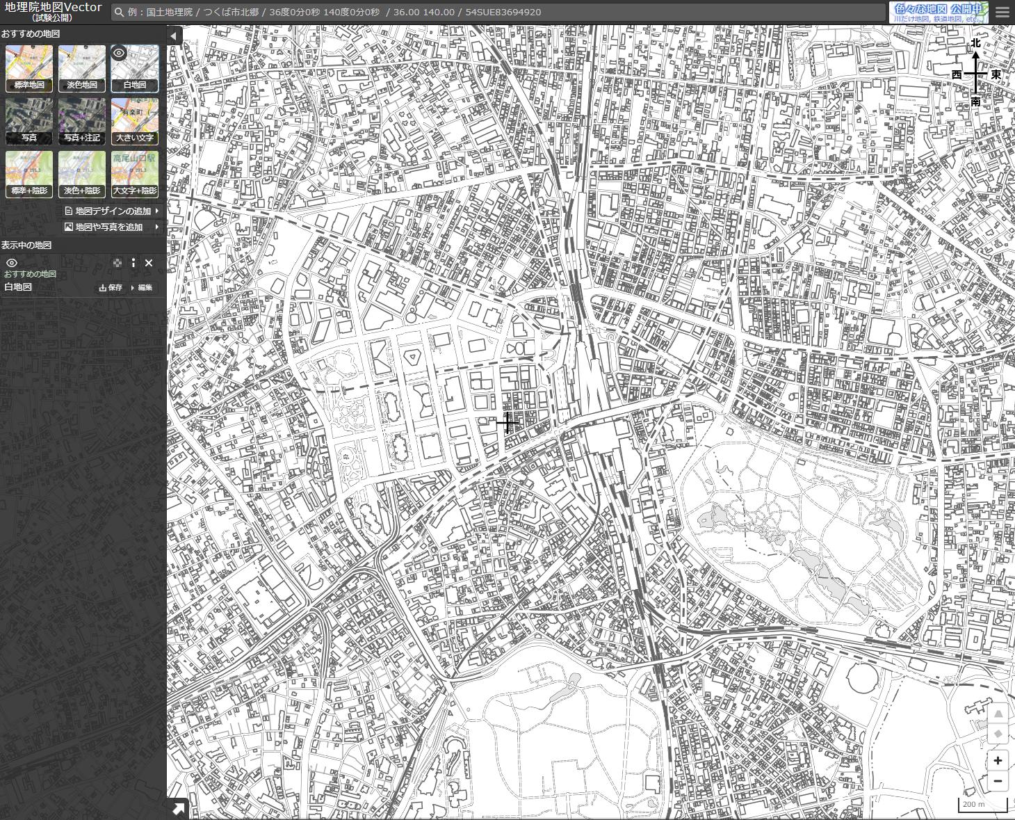白地図夏休みの自由研究におすすめな国土地理院「地理院地図Vector」の白地図画面