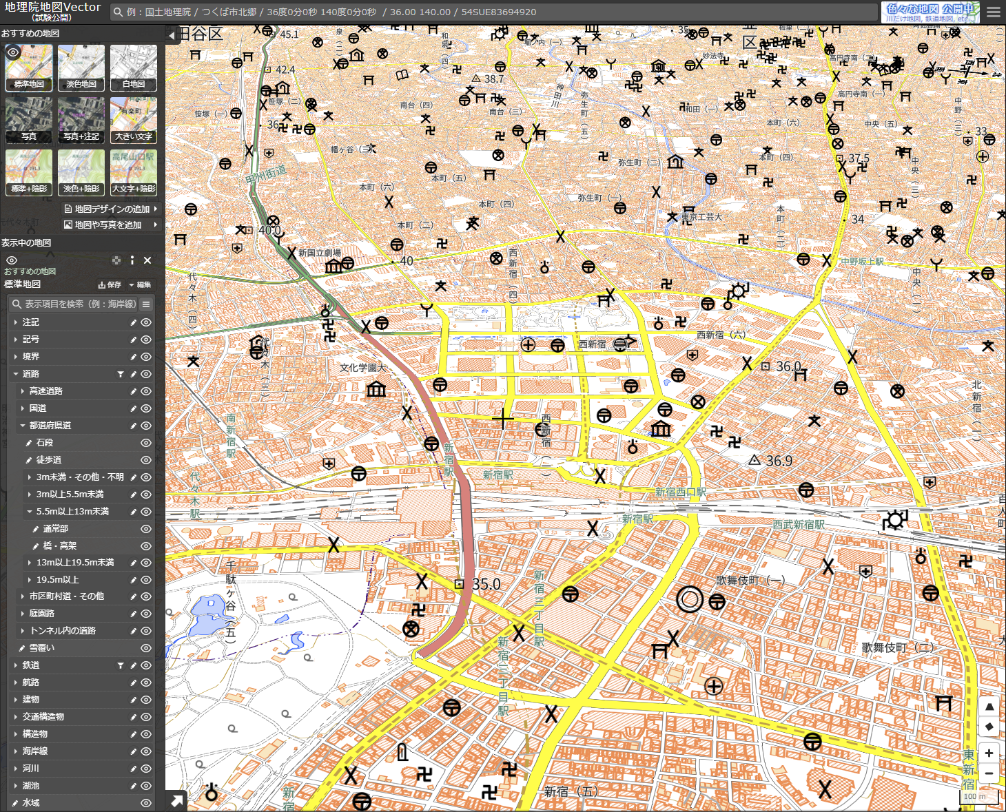 地図画面を回転可能夏休みの自由研究におすすめな国土地理院「地理院地図Vector」の地図回転表示画面