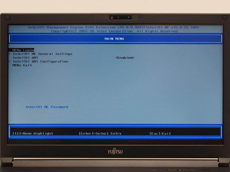 その後[F10]キーを押して「BIOSを保存して終了」すると自動的にインテル MEBx画面が表示される。インテル MEBx画面とその内容は前回の機材のものと同じ