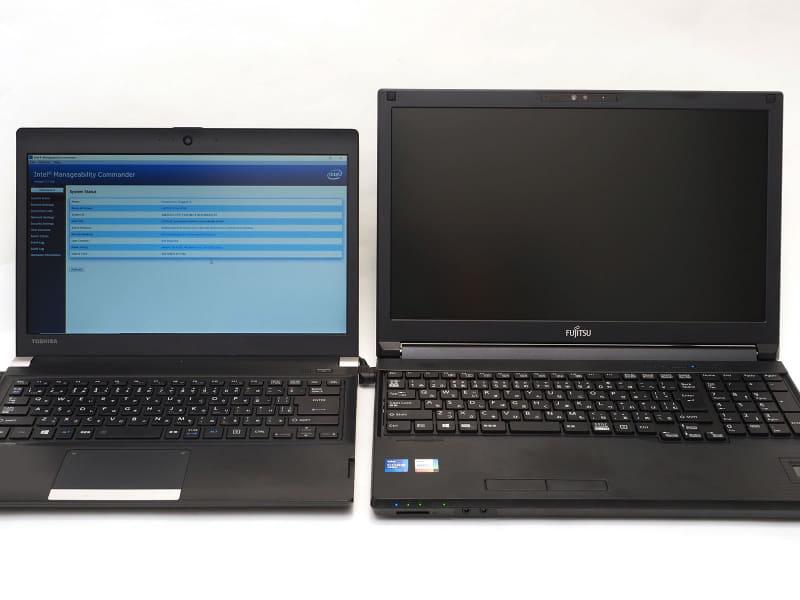 「リモートで電源をONしたい」をしっかり実現し、それを基盤に高いセキュリティを確保するのがインテル vPro プラットフォーム。左のPCにインストールしてある制御ソフトで、右のPCの電源をON/OFFできる。