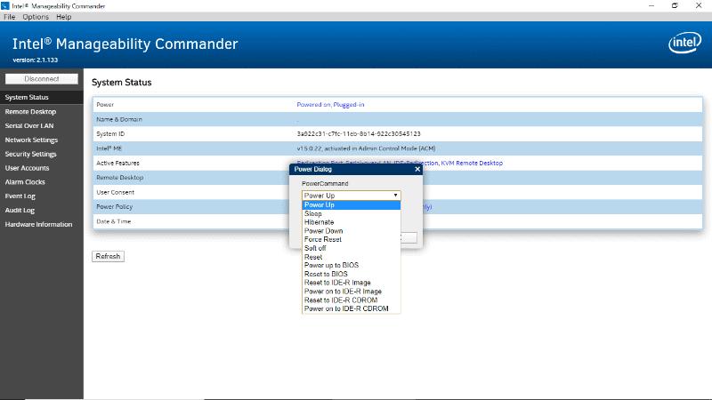 ダイアログのPower Commandで「Power Up」を指定し「OK」ボタンを押す