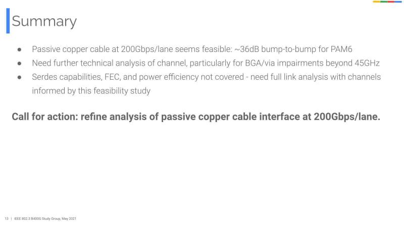 """もちろんこれはこれで茨の道なのだが、速度を上げずに同軸ケーブルを細くすることで、1モジュールあたりの帯域を増やす、という解はないのか、やや疑問に思ってしまう。ここまでの出典は""""<a href=""""https://www.ieee802.org/3/B400G/public/21_05/noujeim_b400g_01_210517.pdf"""" class=""""strong bn"""" target=""""_blank"""">Technical Feasibility of Passive Copper Cables at 200Gbps/lane</a>"""""""