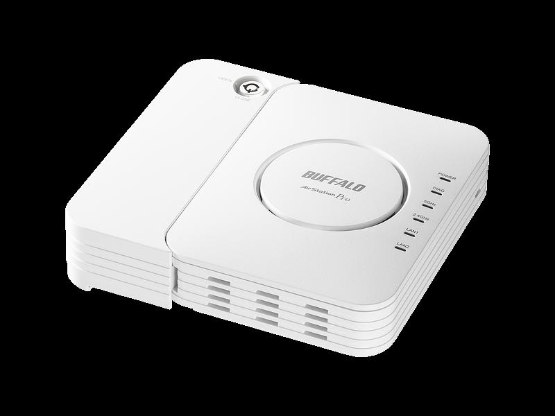 Enhanced Openに対応した、バッファローのフリーWi-Fi専用導入キット「FS-M1266」。壁掛けや天井への設置が可能