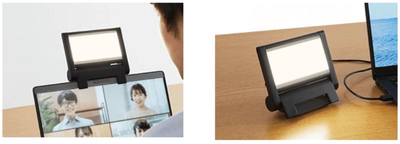 Web会議での使用イメージと、デスク上に置いたイメージ