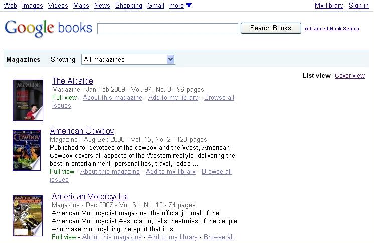 Google Books雑誌一覧ページ(List view)